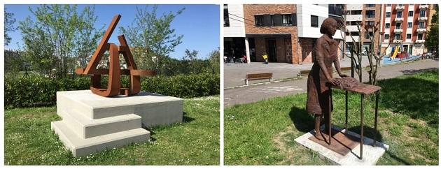 Las esculturas colocadas en Riberas de Loiola y barrio de Loiola